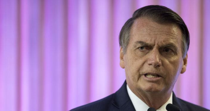 Presidente do Brasil, Jair Bolsonaro, discursa na Firjan, Rio de Janeiro, 20 de maio de 2019