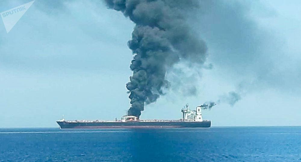 Petroleiro após ter sido atacado no golfo de Omã, 13 de junho de 2019