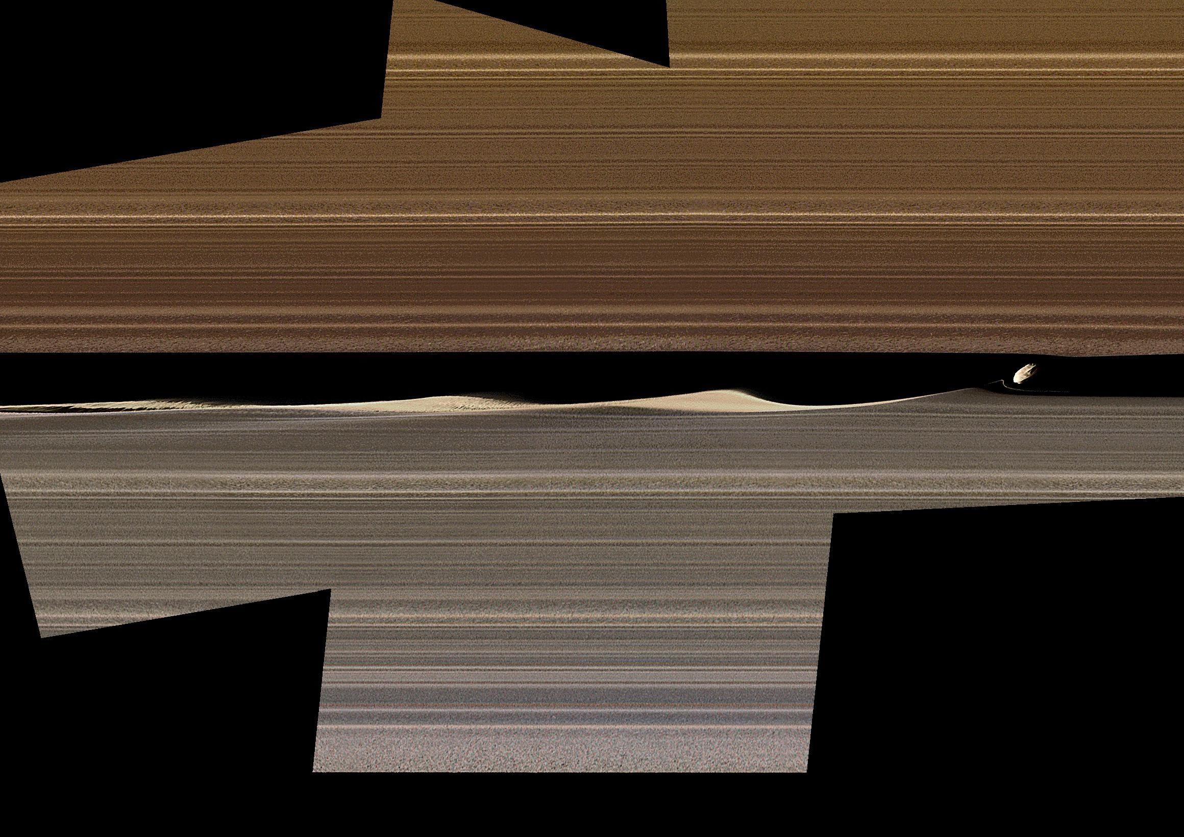 Foto artificialmente colorida mostra Daphnis, uma das luas incorporadas no anel de Saturno, e as ondas que ela desencadeia na lacuna de Keeler
