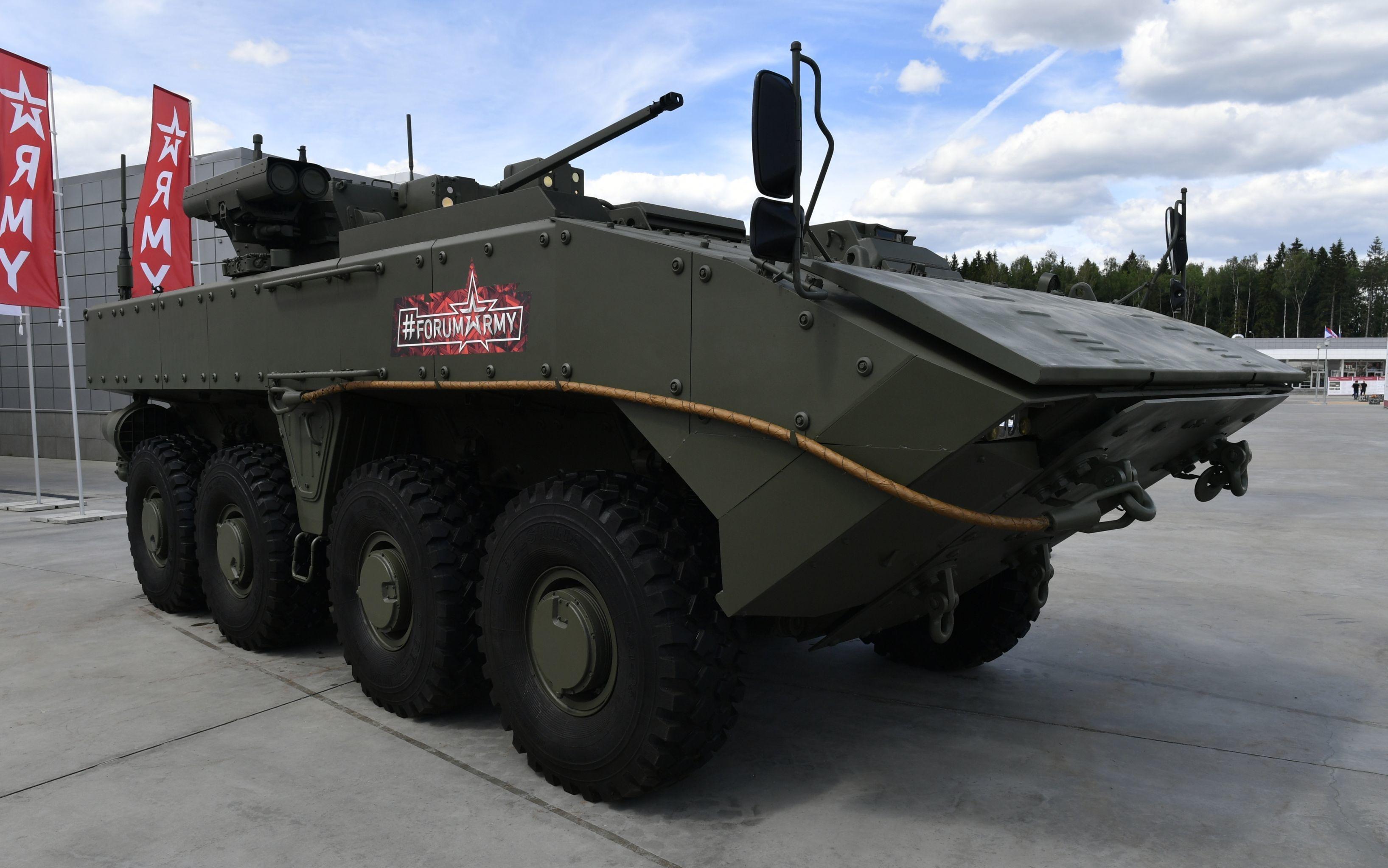 Veículo blindado Bumerang exposto no fórum militar EXÉRCITO 2019