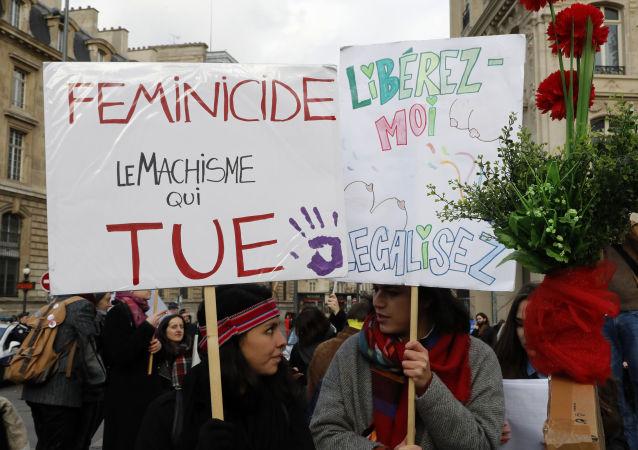 Protesto contra o feminicídio em Paris, França (arquivo)