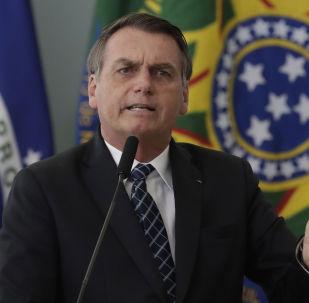 Presidente do Brasil, Jair Bolsonaro, durante o discurso no Palácio do Planalto, 1º de agosto de 2019