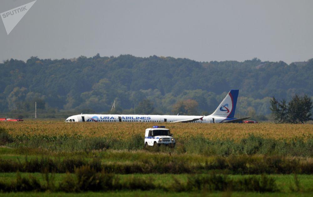 Avião da companhia aérea Ural Airlines visto de longe após pouso de emergência