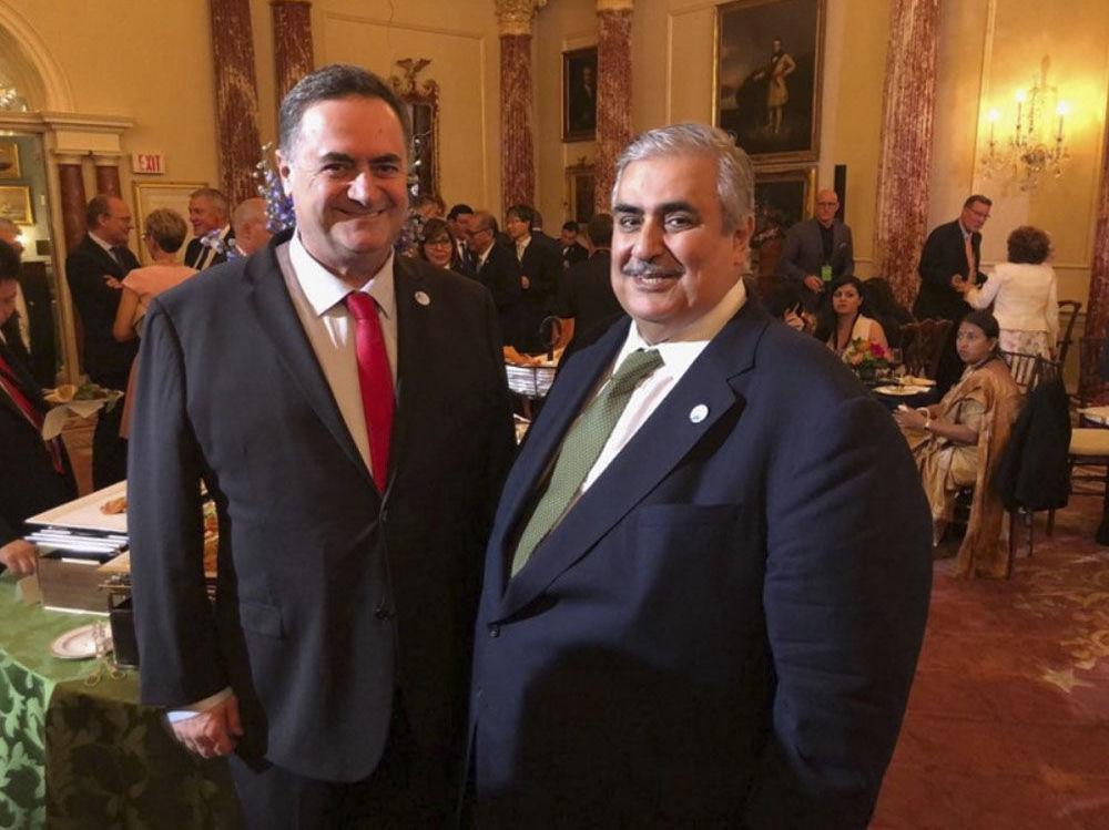 Ministro das Relações Exteriores israelense, Israel Katz, e seu homólogo de Bahrein Khalid bin Ahmed al Khalifa