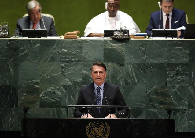 O presidente do Brasil, Jair Bolsonaro, discursa na abertura da 74ª Assembleia Geral da Organização das Nações Unidas (ONU), no dia 24 de setembro de 2019.