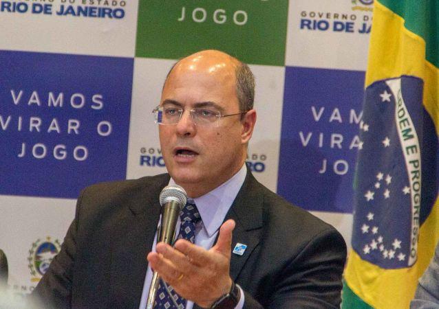 Governador do Rio de Janeiro, Wilson Witzel, participa de uma coletiva de imprensa no Palácio Guanabara