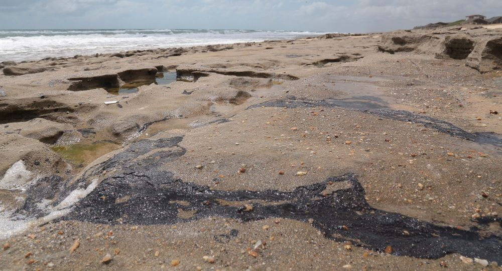 Manchas de óleo são vistas na Praia da Sabiaguaba, em Fortaleza (CE).