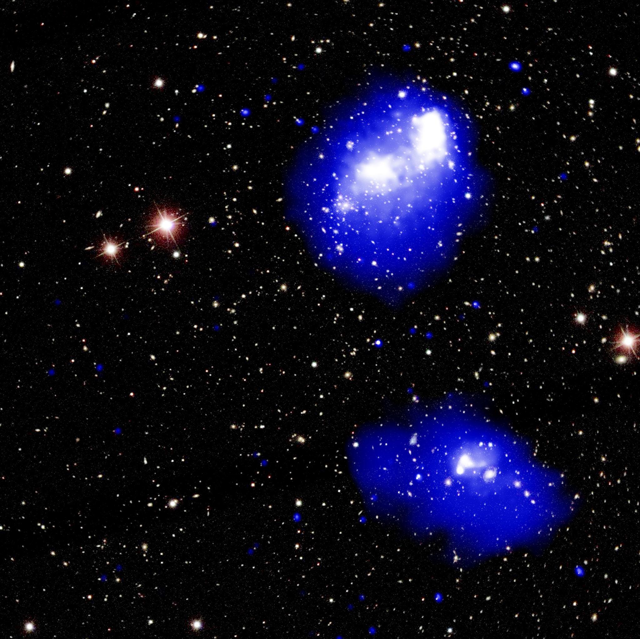 Colisão entre quatro aglomerados de galáxias no sistema Abell 1758