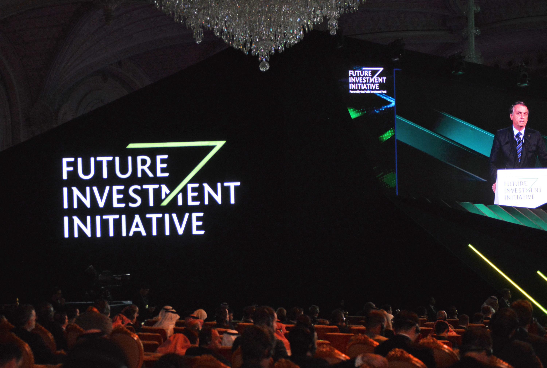 Jair Bolsonaro durante evento de investidores na Arábia Saudita