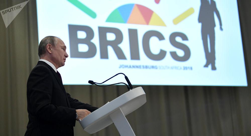 O presidente russo, Vladimir Putin, durante coletiva de imprensa, na cúpula do BRICS