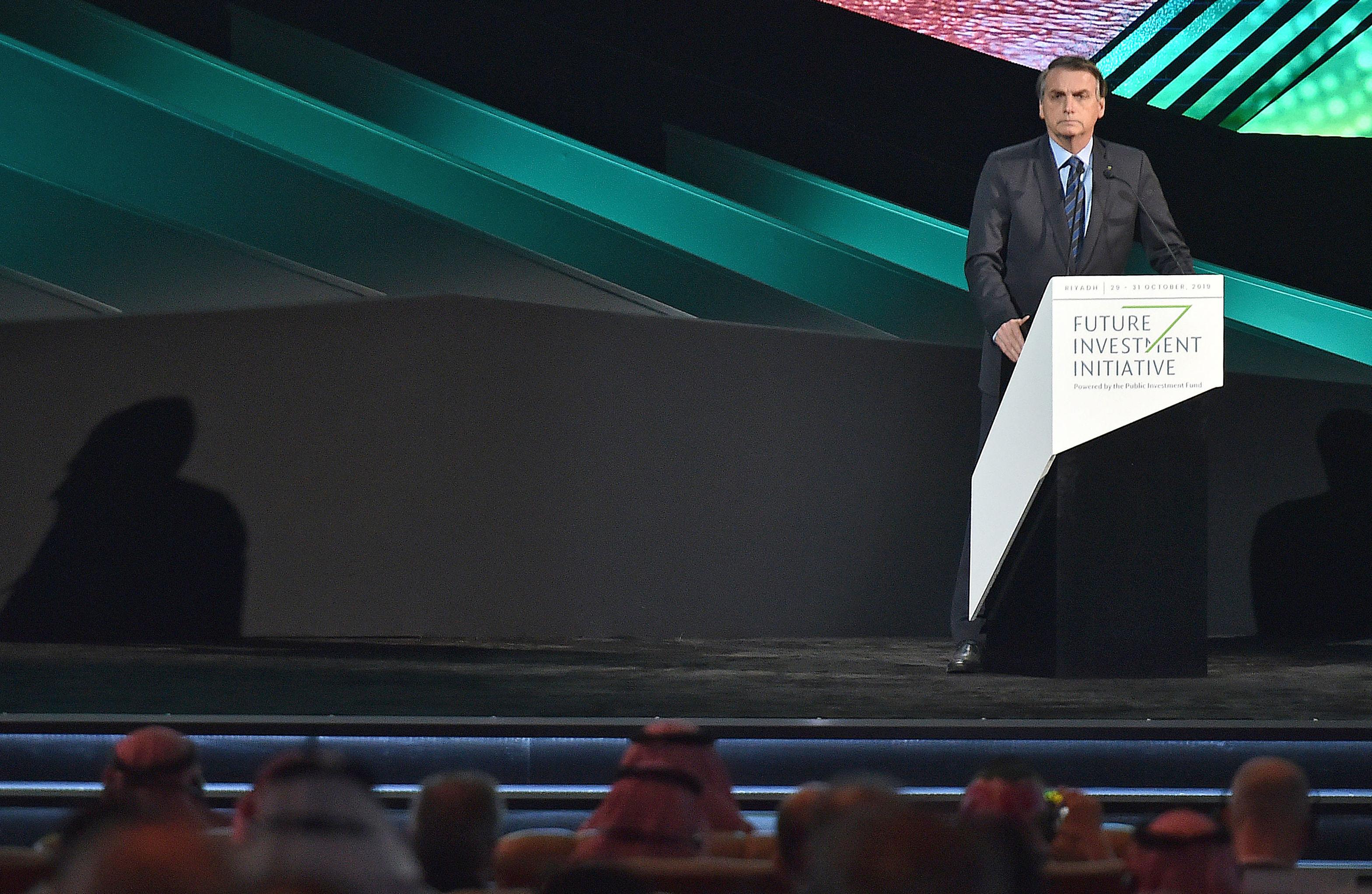 Jair Bolsonaro em evento de investidores na Arábia Saudita