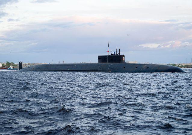 Submarino Nuclear Knyaz Vladimir na região de Severodvinsk, em junho de 2019