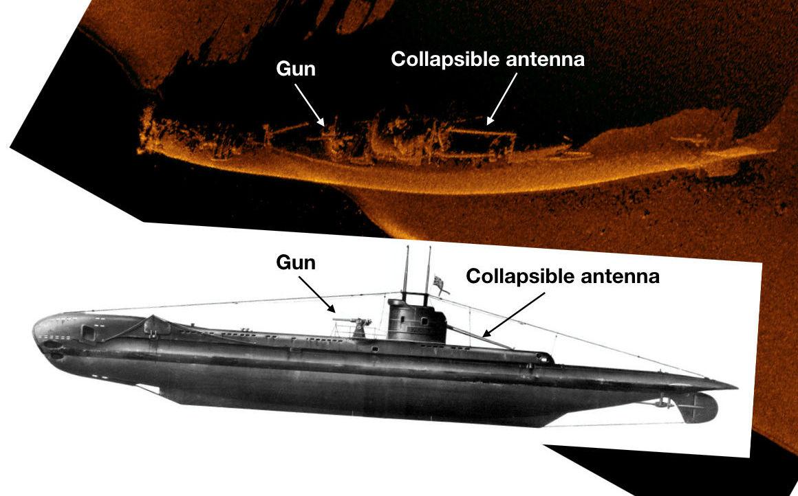 Ilustração gráfica que compara a imagem de sonar dos destroços do submarino britânico à esquema de sua estrutura. O submarino foi encontrado há 130 metros de profundidade