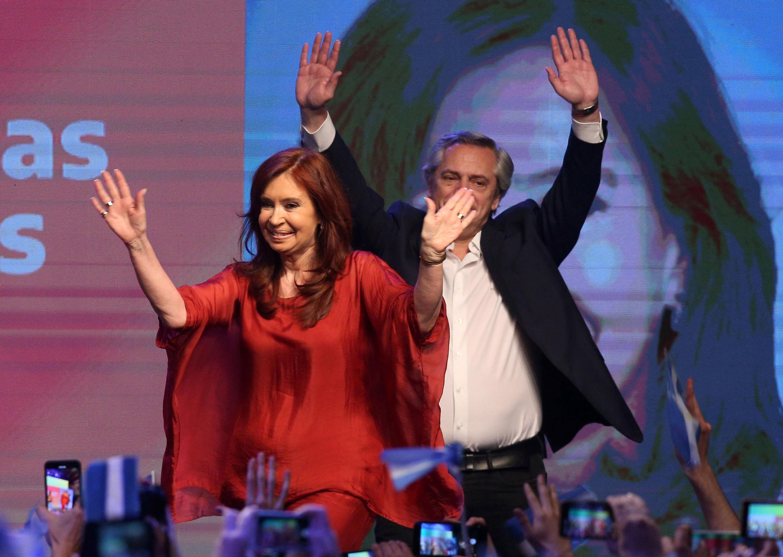 Alberto Fernández e Cristina Kirchner, vencedores da eleição presidencial argentina