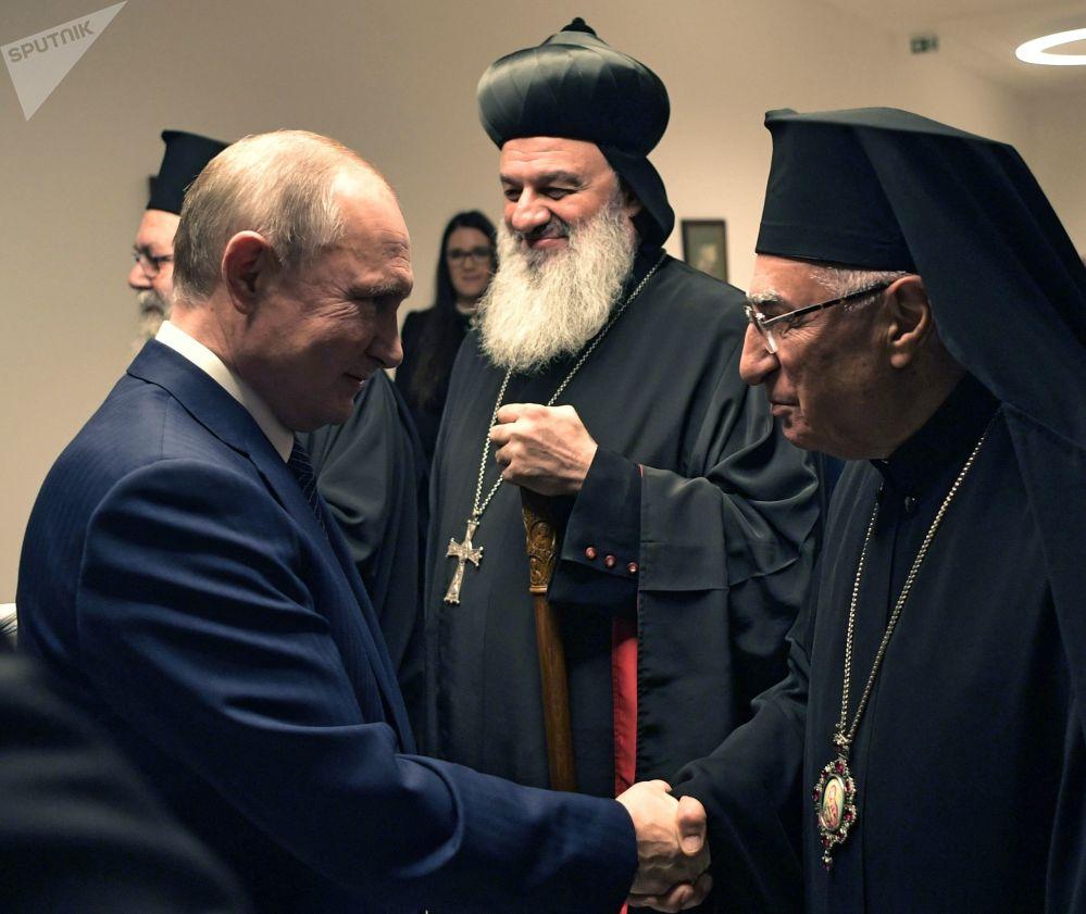 Presidente da Rússia, Vladimir Putin, em encontro com hierarcas das Igrejas Cristãs do Oriente Médio