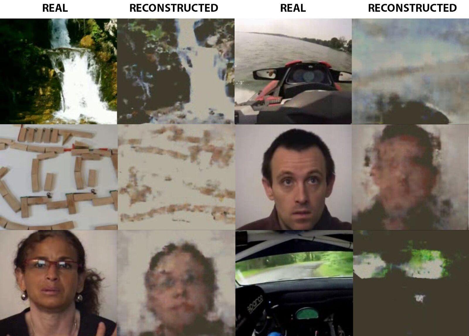 Comparação entre as imagens originais, visualizadas pelo paciente, e as captadas pela máquina de ler pensamentos russa