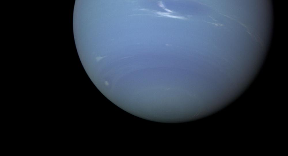 Imagem de Netuno tomada em 20 de agosto de 1989 pela Narrow Angle Camera da Voyager 2