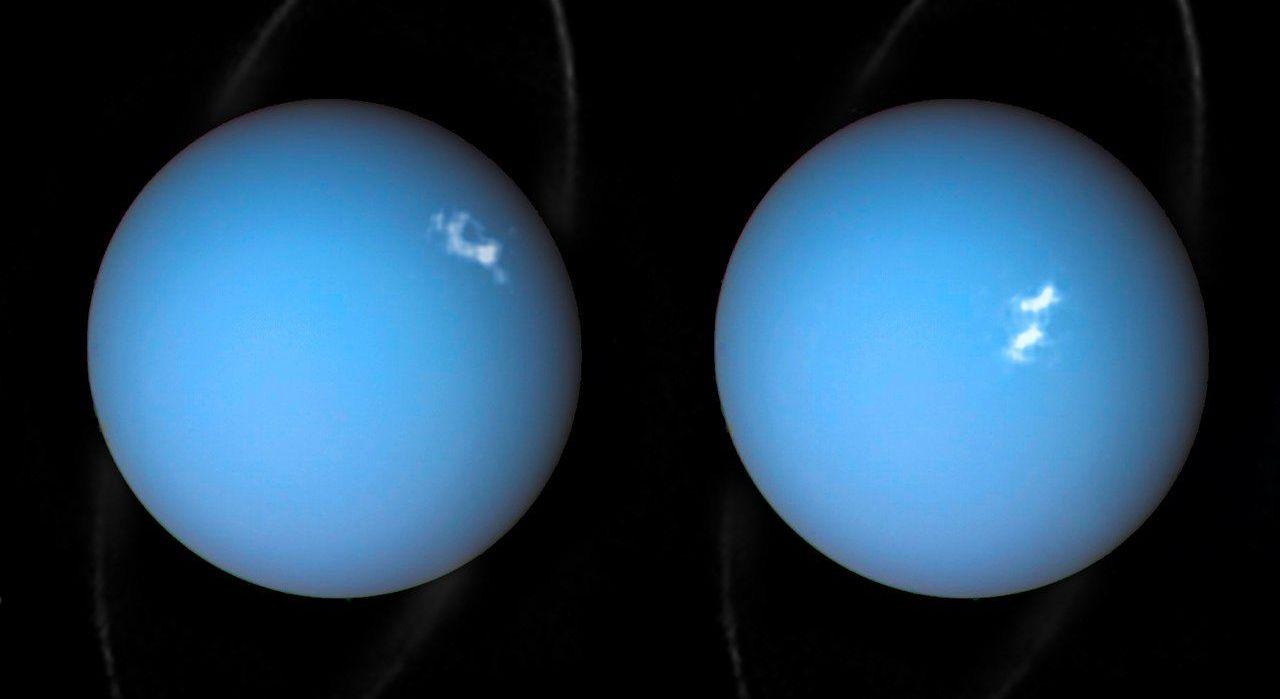 Imagem composta de Urano pela Voyager 2 e duas observações diferentes feitas por Hubble, uma do anel e outra das auroras