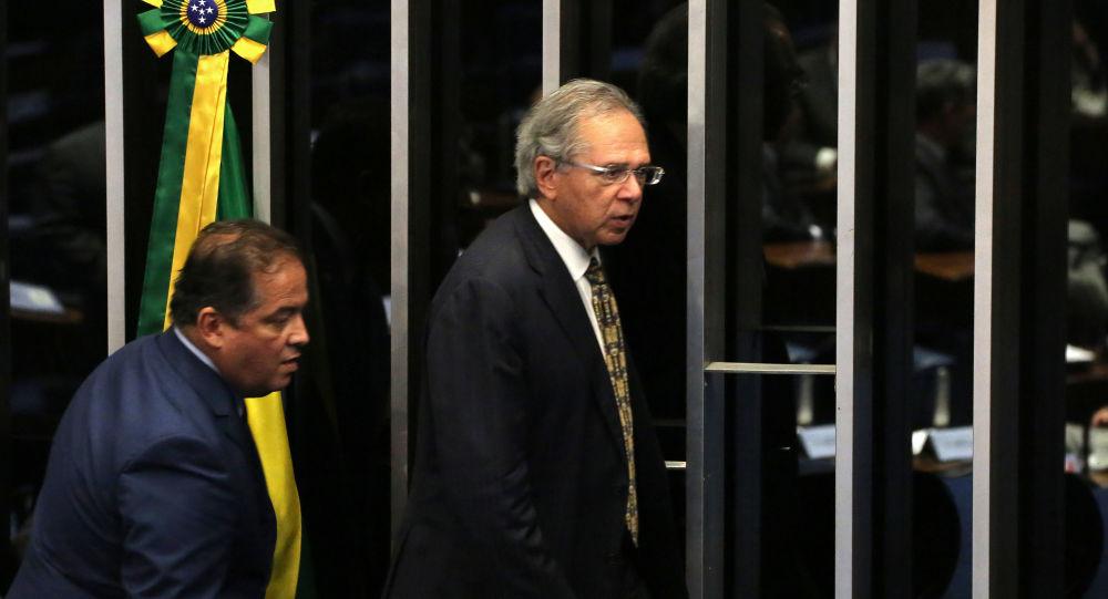 Paulo Guedes durante votação do texto-base da Reforma da Previdência no Senado Federal em Brasília (DF)