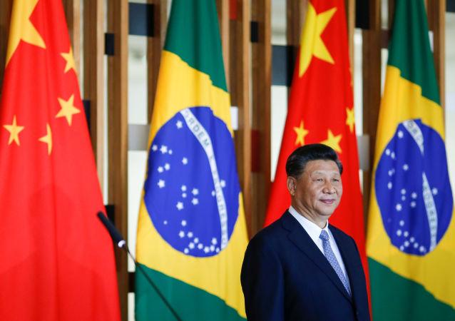 O presidente da China, Xi Jinping, durante cúpula do BRICS em Brasília.
