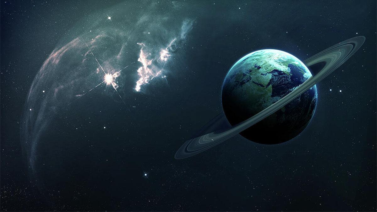 Ilustração artística da Terra com anéis