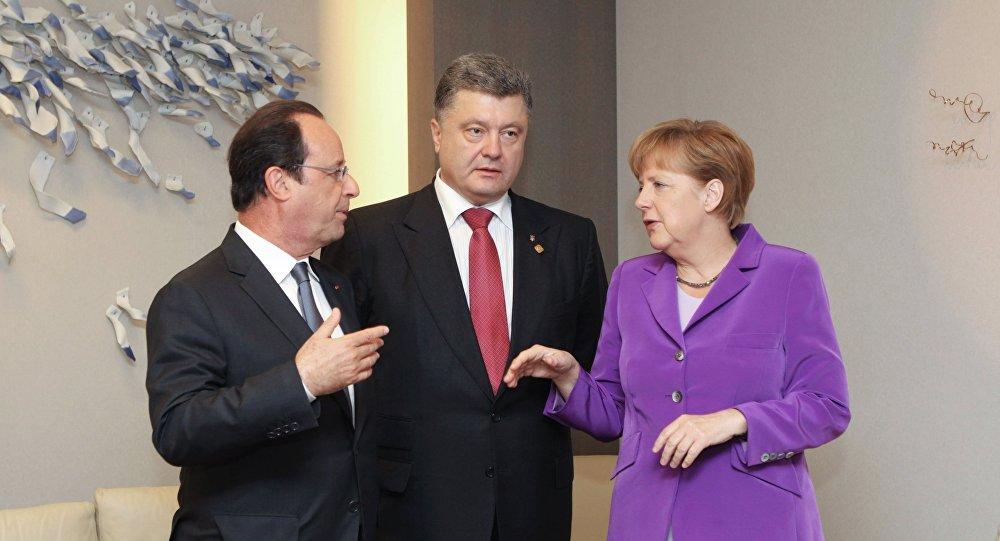 Reunião entre Merkel, Hollande e Poroshenko