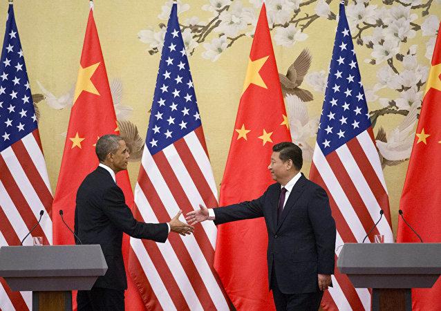 Presidente dos EUA Barack Obama e o presidente chinês Xi Jinping