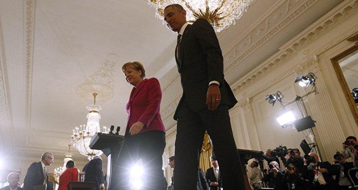 O presidente dos Estados Unidos, Barack Obama, e a chanceler da Alemanha, Angela Merkel