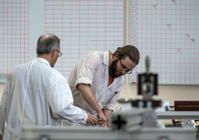 Físicos russos, foto de arquivo