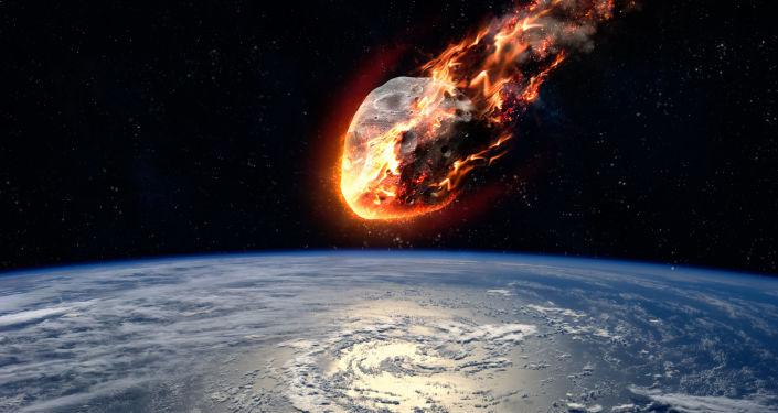 Meteorito se aproximando da Terra