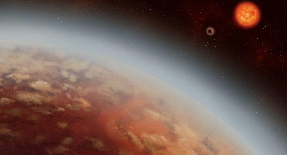 O planeta K2-18b e o recém-descoberto K2-18c, orbitam sua estrela K2-18 (anã vermelha), localizada à distância de 111 anos-luz da Terra na constelação de Leo (apresentação artística)