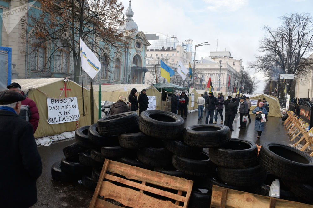 Partidários de Mikhail Saakashvili se manifestam em Kiev