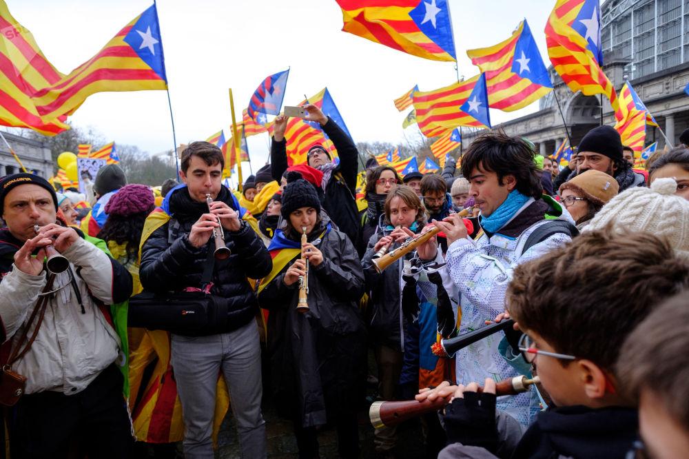 Ação de apoio a Carles Puigdemont na Bélgica
