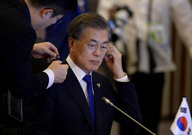 Moon Jae-in, presidente da Coreia do Sul na cúpula da ASEAN, 13 de novembro, 2017