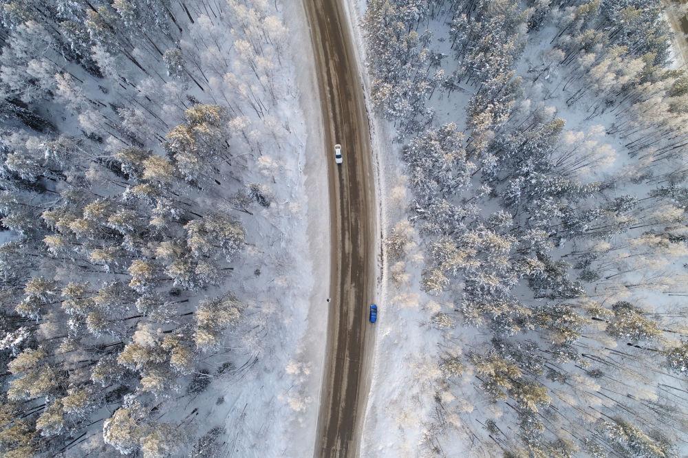 Vista aérea geral do rio Enisei, Rússia