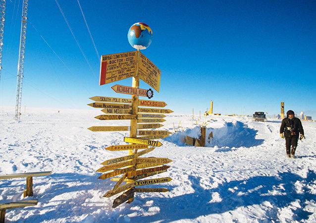 Base de pesquisas russa Vostok na Antártida nas proximidades do Polo Sul