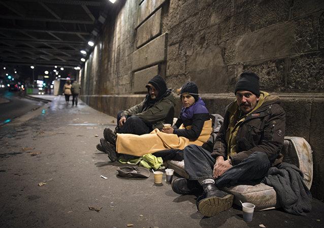 Sem-teto nas ruas de Paris