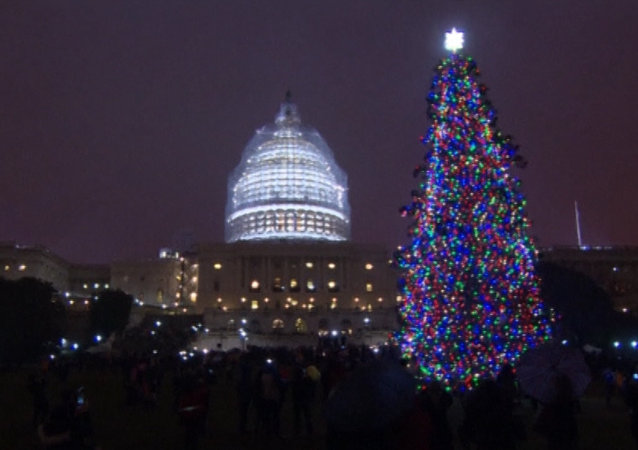 Crowds Counting Down To Christmas Tree Lighting in US Capitol