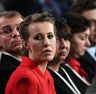 Candidata à presidência russa em 2018, Ksenia Sobchak, durante a coletiva de imprensa anual de Vladimir Putin, em 14 de dezembro de 2017