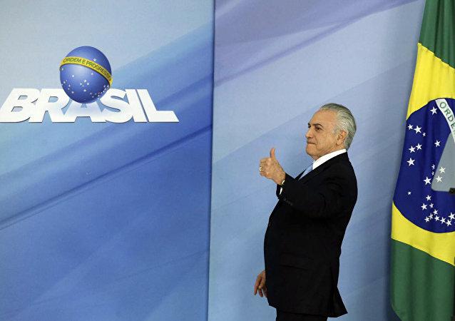 Michel Temer durante coletiva em Brasília