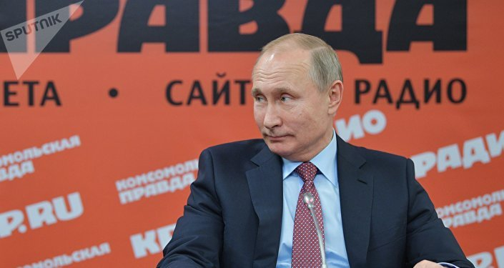 O presidente russo, Vladimir Putin, durante encontro com mídia russa em 11 de janeiro de 2018