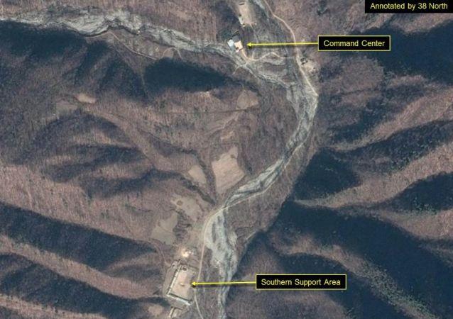 Foto de satélite do polígono Punggye-ri