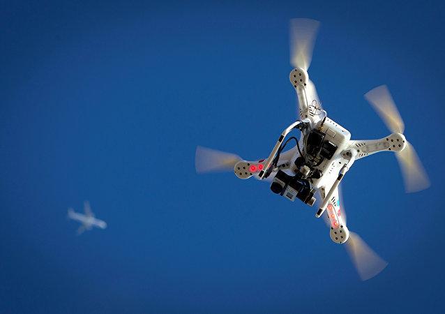 Drone voa em Coney Island no bairro de Brooklyn, Nova York