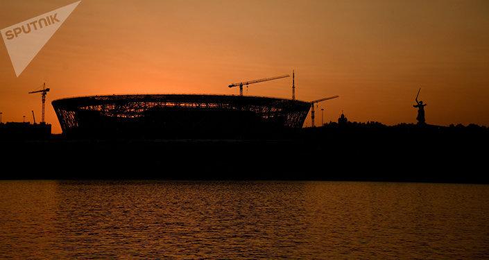 Estádio Volgograd Arena na cidade de Volgogrado, nas vésperas da Copa do Mundo 2018 na Rússia