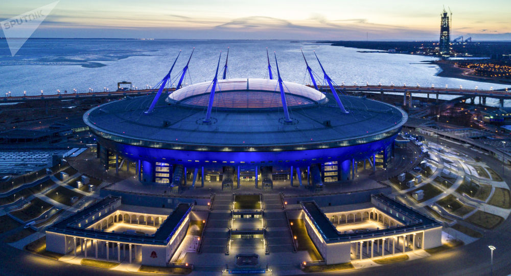 Estádio Sankt-Peterburg Arena em São Petersburgo, Rússia