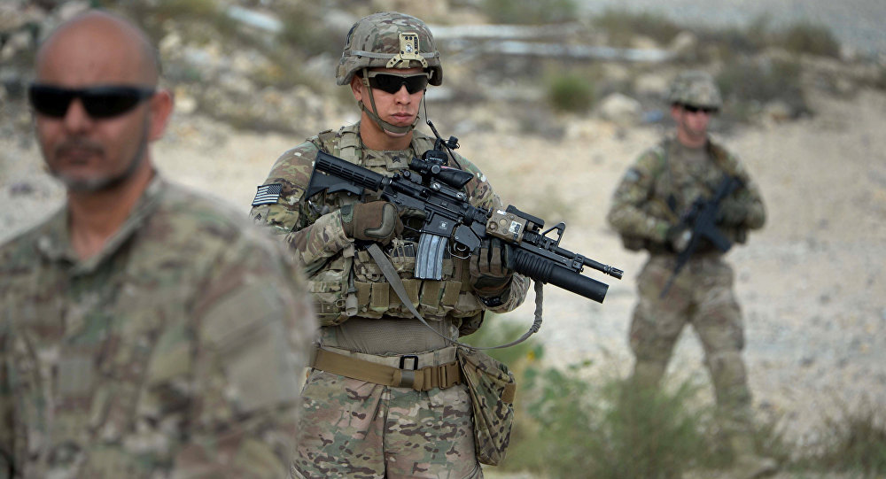 US soldiers part of NATO patrol during the final day of a month long anti-Taliban operation by the Afghan National Army (ANA) in various parts of eastern Nangarhar province, at an Afghan National Army base in Khogyani district on August 30, 2015