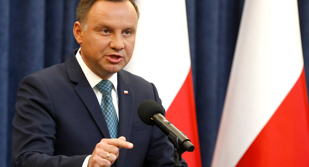Poland's President Andrzej Duda speaks during his media announcement about Supreme Court legislation at Presidential Palace in Warsaw, Poland, July 24, 2017.