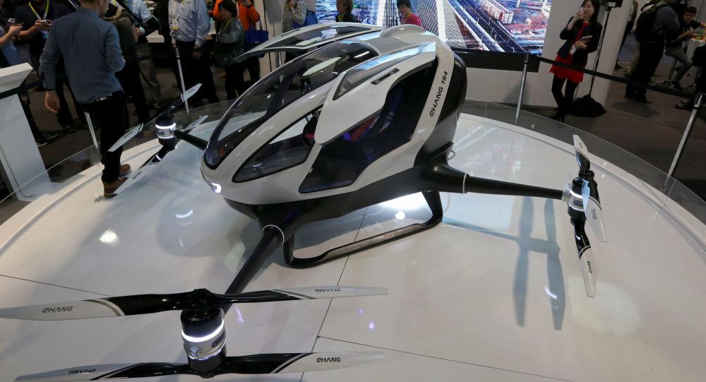 Drone de passageiros EHang 184 durante exibição em Las Vegas