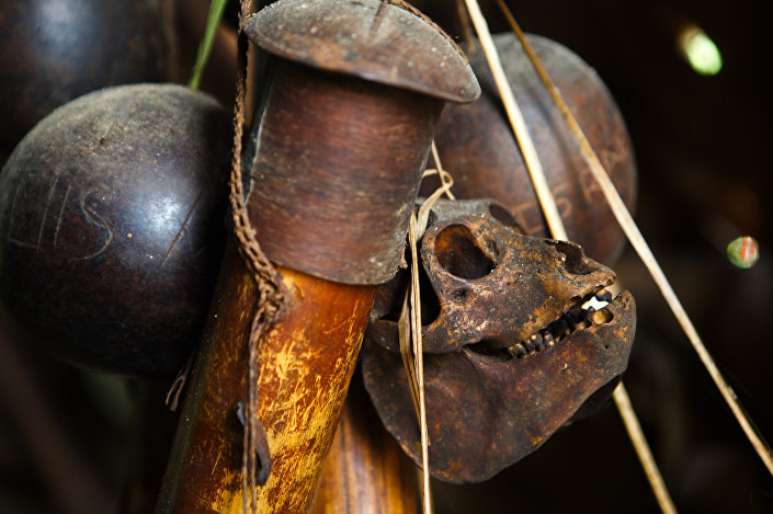 Munição de caça dos huaoranis inclui também um crânio de macaco