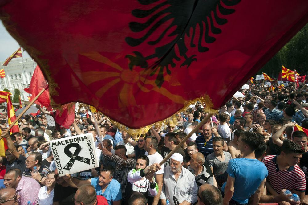 Protestos em Macedônia.
